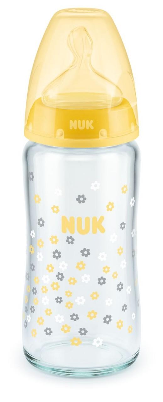 NUK FC+ Láhev sklo 240ml SI,M , žlutá