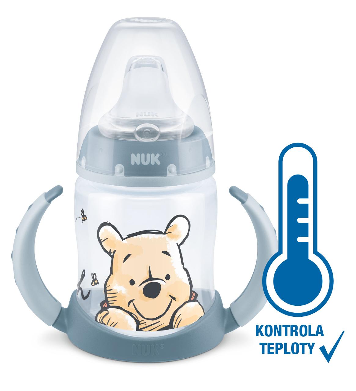 NUK FC lahev na učení s kontrolou teploty Medvídek Pú, modrá